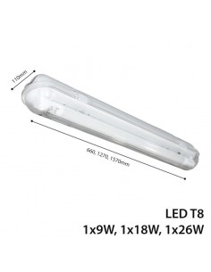 Corp Iluminat LED Industrial LEDONE IP65 Tuburi LED T8 1x26W