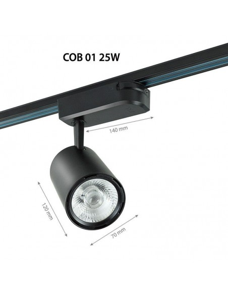 25W Proiector pe sina COB 4000K - Negru