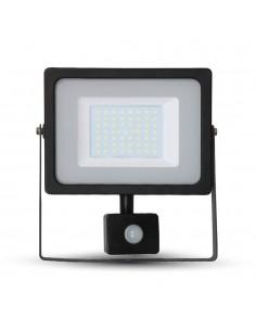 LedOne VT-4955 50W PROIECTOR LED SMD CU SENZOR SLIM Alb Cald 3000K Corp Negru Cod V-TAC5837 Megazin Online Pret Ieftin