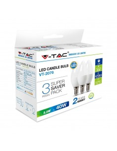 LedOne VT-2076 5.5W BEC LED PLASTIC LUMANARE ALB CRISTAL 6400K 3PCS/PACK E14 Cod V-TAC7265 Megazin Online Pret Ieftin
