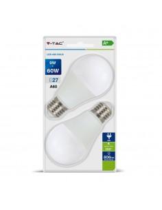 LedOne VT-2139 9W A60 BEC LED PLASTIC ALB CALD E27 2PCS BLISTER PACK Cod V-TAC7294 Megazin Online Pret Ieftin