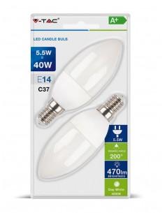 LedOne VT-2106 5.5W BEC LED PLASTIC LUMANARE Alb Natural 4000K E14 2PCS BLISTER PACK Cod V-TAC7292 Megazin Online Pret Ieftin