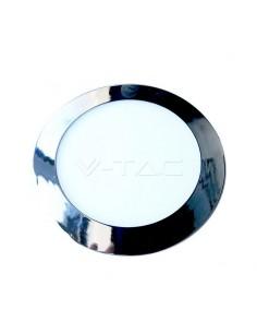 LedOne VT-607CH 6W PANOU LED SLIM-CHROME Alb Cald 3000K ROTUND Cod V-TAC6334 Megazin Online Pret Ieftin