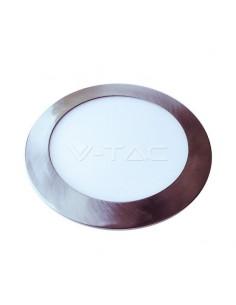 LedOne VT-1207SN 12W PANOU LED SLIM-SATIN NICKEL ALB CRISTAL 6400K ROTUND Cod V-TAC6345 Megazin Online Pret Ieftin